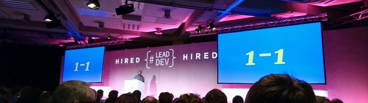 Adrian on stage at Lead Developer